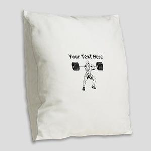 Weightlifter Burlap Throw Pillow