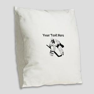 Hockey Goalie Burlap Throw Pillow