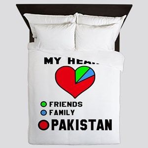 My Heart Friends, Family and Pakistan Queen Duvet