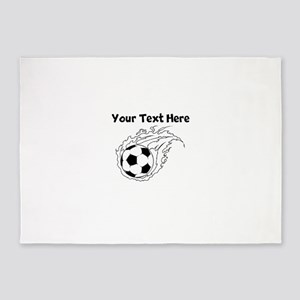 Flaming Soccer Ball 5'x7'Area Rug