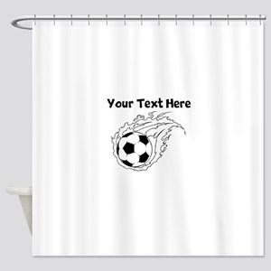Flaming Soccer Ball Shower Curtain