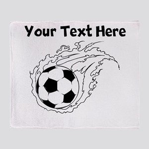 Flaming Soccer Ball Throw Blanket