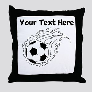 Flaming Soccer Ball Throw Pillow