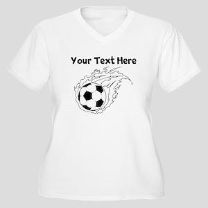 Flaming Soccer Ball Plus Size T-Shirt