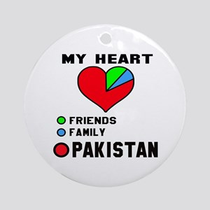 My Heart Friends, Family and Pakist Round Ornament