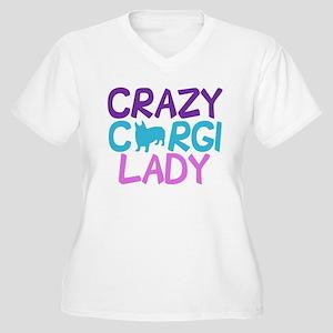 Crazy Corgi Lady Women's Plus Size V-Neck T-Shirt
