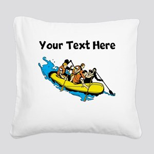 White Water Rafting Square Canvas Pillow