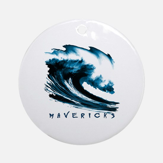 Surfer Slang: Mavericks Round Ornament
