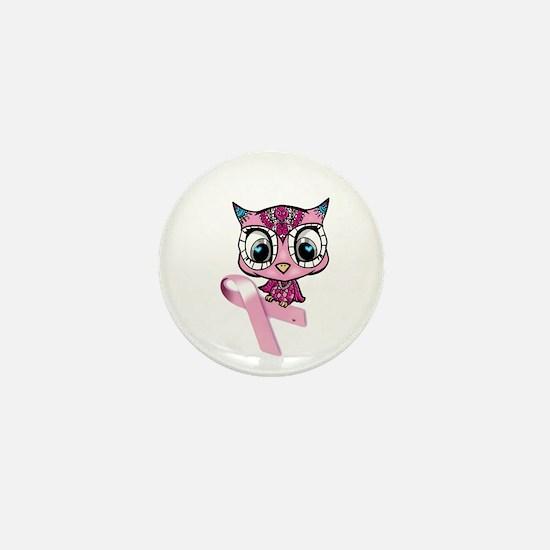 Breast Cancer Owl Mini Button