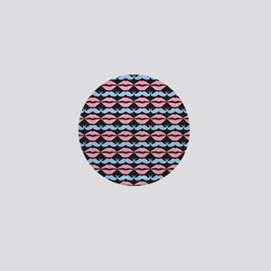 Blue and Pink Mustache and Lips Patter Mini Button