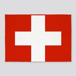modern Switzerland Flag 5'x7'Area Rug