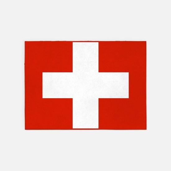 modern Switzerland Flag 5'x7'Area Rug