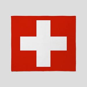 modern Switzerland Flag Throw Blanket