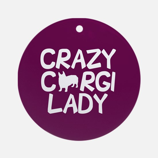 Crazy Corgi Lady Round Ornament