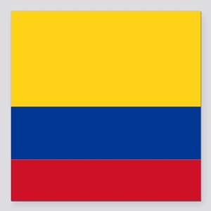 "Falg of Colombia Square Car Magnet 3"" x 3"""