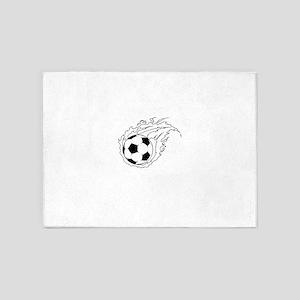Flaming Soccer Ball 5'x7'Area Rug