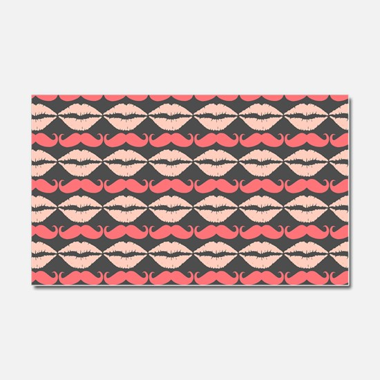 Coral Pink Mustache and Lips Pa Car Magnet 20 x 12