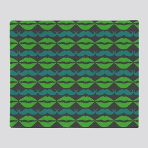 Green and Blue Mustache and Lips Pat Throw Blanket