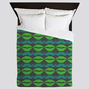 Green and Blue Mustache and Lips Patte Queen Duvet
