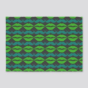 Green and Blue Mustache and Lips Pa 5'x7'Area Rug