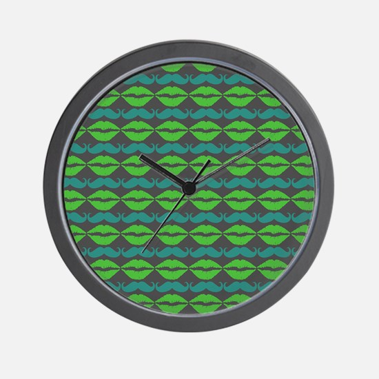 Green and Blue Mustache and Lips Patter Wall Clock