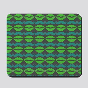 Green and Blue Mustache and Lips Pattern Mousepad