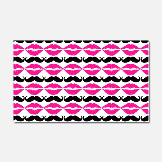 Pink and Purple Mustache and Li Car Magnet 20 x 12