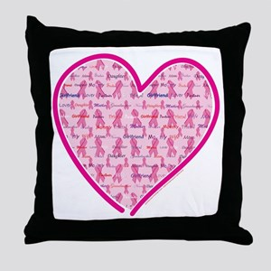Lets Cure Cancer Heart Throw Pillow