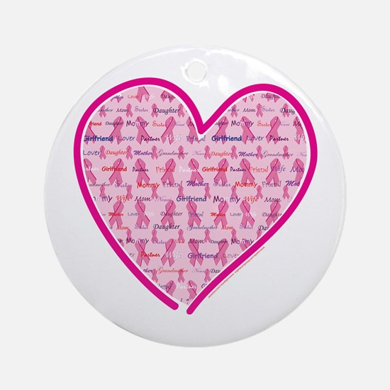 Lets Cure Cancer Heart Ornament (Round)