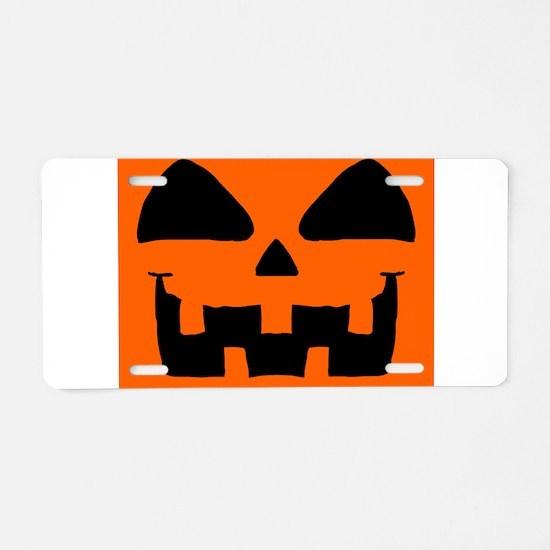 Pumpkin face Aluminum License Plate