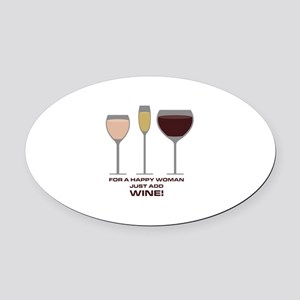 Just Add Wine Oval Car Magnet