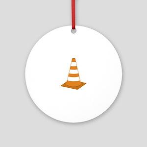 Traffic Cone Round Ornament