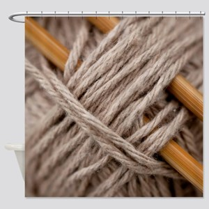 Knitting Needles Shower Curtain