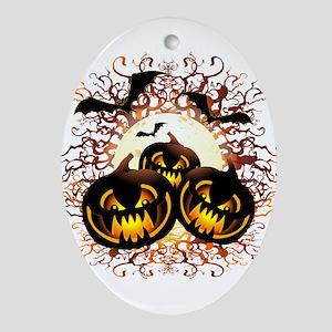 Black Pumpkins Halloween Night Oval Ornament