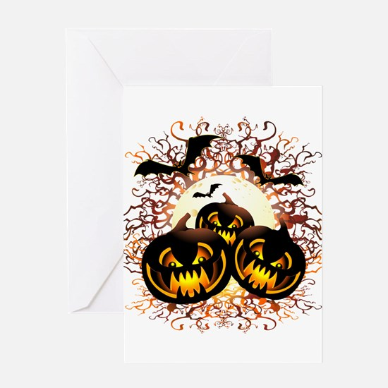 Black Pumpkins Halloween Night Greeting Cards