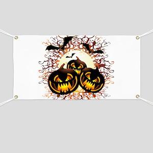 Black Pumpkins Halloween Night Banner