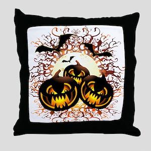 Black Pumpkins Halloween Night Throw Pillow