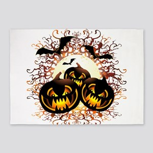 Black Pumpkins Halloween Night 5'x7'Area Rug