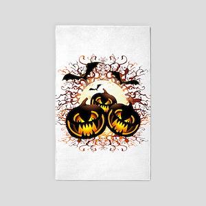 Black Pumpkins Halloween Night Area Rug