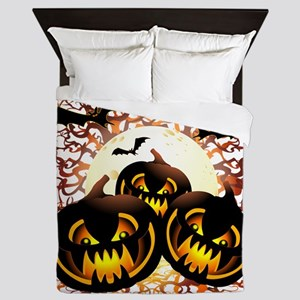 Black Pumpkins Halloween Night Queen Duvet