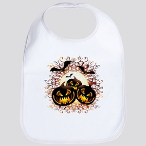 Black Pumpkins Halloween Night Bib
