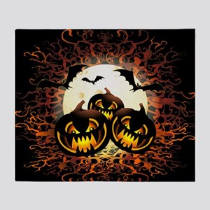 Black Pumpkins Halloween Night Throw Blanket