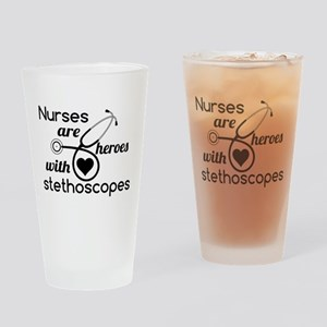 Nurses are Heroes Black Drinking Glass