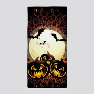 Black Pumpkins Halloween Night Beach Towel
