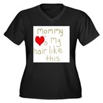 Mommy Loves It Women's Plus Size V-Neck Dark T-Shi