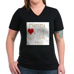 Mommy Loves It Women's V-Neck Dark T-Shirt