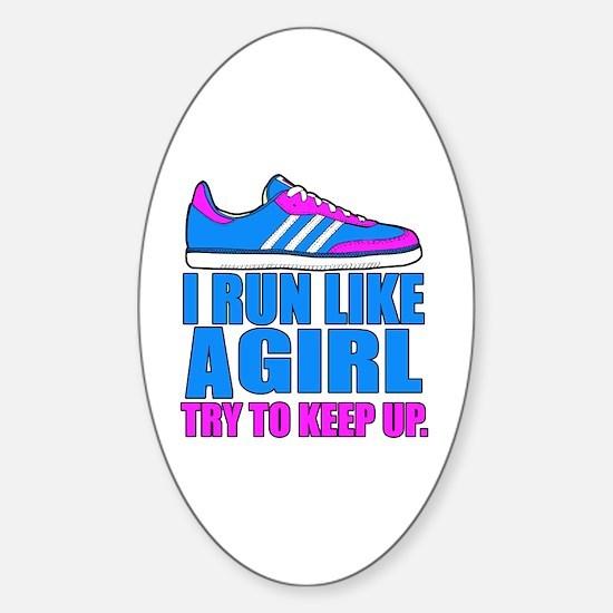 Run Like a Girl II Sticker (Oval)