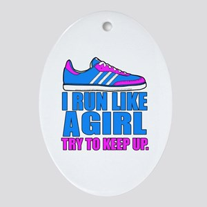 Run Like a Girl II Oval Ornament