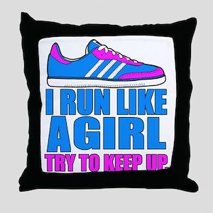 Run Like a Girl II Throw Pillow