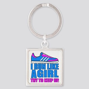Run Like a Girl II Square Keychain